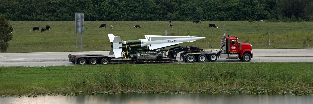 Redland Lowboy enroute with decommissioned Nike missile.